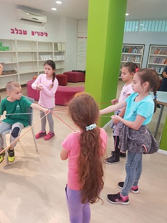 Einat Shamir in activities for children at Yad Mordechai School