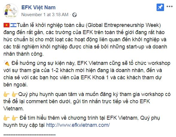 EFK program in vietnam celebrates GEW 2019