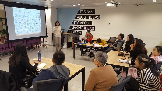 Galit Zamler is leading a Hackathon for a delegation from China