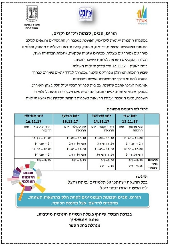 Schedule of the Global Entrepreneurship Week at the HaYovel School in Ashdod