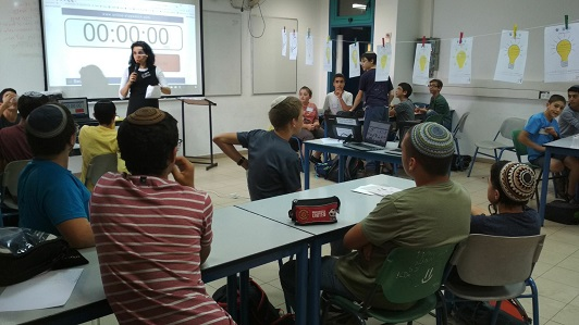 Galit Zamler in a Hackathon at the Yeshiva in Kiryat Arba