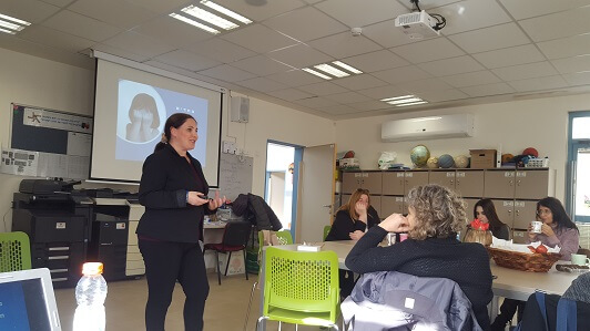Liat Henriette Silber at a lecture to the school staff