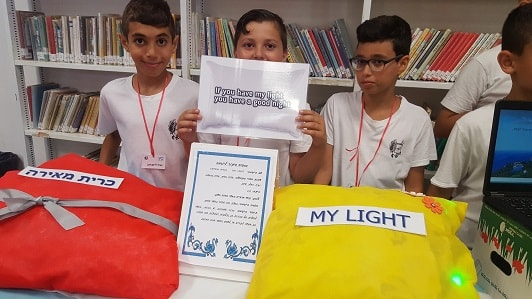 A light up pillow, invented by fifth graders in Israel