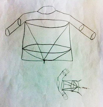 an outline of the shirt